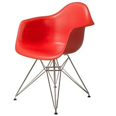 Herman Miller Eames® DAR Molded Arm Chair in Tangerine Tango