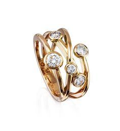 Raindance Anniversary Classic Rose Gold Diamond Ring. In 18ct rose gold with diamonds