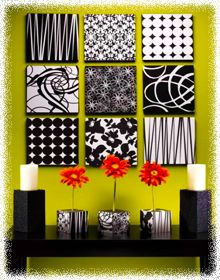 diy wall decorating designs... With styrofoam boards and scrap booking paper?? I think YES!