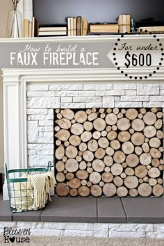 How to Build a Faux Fireplace (for under $600) | Bless'er House - This is the most realistic looking fireplace I've ever seen.