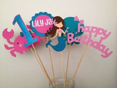 12 Glittery Mermaid Under the Sea Cupcake Toppers by AngiesDesignz