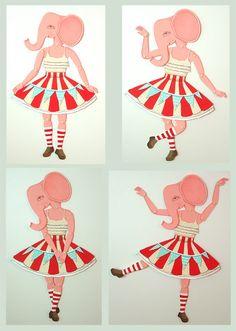 Pink Circus Elephant-- DIY Articulated Paper Doll Set-- Original Contemporary Folk Art. $12.00, via Etsy.