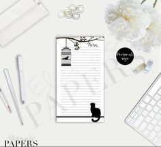 A Cute Black Cat NOTES insert for your Personal Filofax