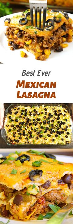 Mexican Lasagna is made with layer upon layer of spectacular south-of-the-border flavors. A drool worthy dish with just enough heat to wake up your taste buds, you will surely beat the picky palates in your house with this fabulous casserole that takes 15 minutes of prep and 15 minutes to bake. #dinnerideas #foods #lasagna