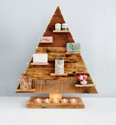 Solid triangle tree - We used recycled Oregon planks from an old roof structure for this tree, but pine planks or an old pallet will work just as well. Christmas Makes, Christmas Time, Christmas Ideas, Christmas Stuff, Christmas Recipes, Merry Christmas, Wooden Christmas Trees, Christmas Decorations, Xmas Trees