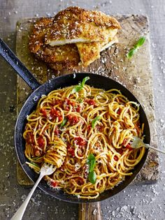 Chicken milanese with spaghetti | Jamie Oliver