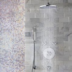 Jado Shower System featuring the Stoic Complete Personal Hand Shower Set via issues issues Wilke Russell-Snider Standard Brands. Love the mosaic tile, too! Bathroom Design Decor, Shower Tile, Bathroom Solutions, Shower Faucets, Tub And Shower Faucets, Bathroom Fixtures, Best Bathroom Designs, Shower Set, Tub Shower Doors