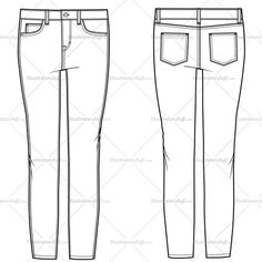 55 Ideas for fashion drawing jeans style Fashion Sketch Template, Fashion Design Template, Fashion Templates, Pattern Fashion, Fashion Jeans, Moda Fashion, Style Fashion, Flat Drawings, Flat Sketches