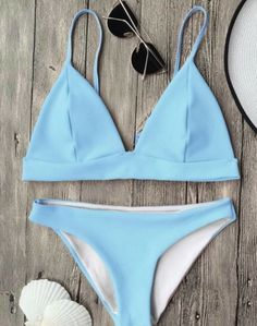 c07d744802 Cami Plunge Bralette Bikini Top And Bottoms - Light Blue M