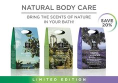 Bring the Scents of Nature With You! Edition Discover our new shower gels and body milks! Lavender Care, Holistic Approach, Our Body, Shower Gel, Body Care, Bring It On, City, Green, Nature