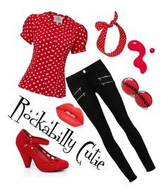 """""""Rockabilly Cutie"""" by cyndie-hoffman-klorer on Polyvore featuring Paige Denim, Lime Crime and Retrò"""
