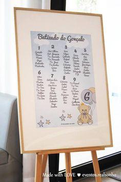 Batizado | Ursinho   Identificação de Convidados | Formato Painel   baptism decoration // party decorations ideas // little bear