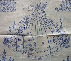 Vintage Embroidery Patterns Iron On | Vintage Iron on Embroidery Transfer - Crinoline Lady Country Garden