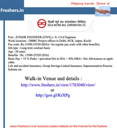DMRC REQUIREMENT : Freshers - http://www.freshers.in/view/1783040/view/