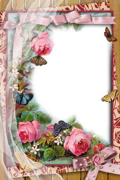 Transparent Frame with Flowers and Butterflies