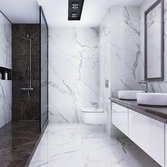 Modern Luxury Bathroom, Bathroom Design Luxury, Modern Bathroom Design, Washroom Design, Toilet Design, Loft Bathroom, Bathroom Plans, White Marble Bathrooms, Bathroom Design Inspiration