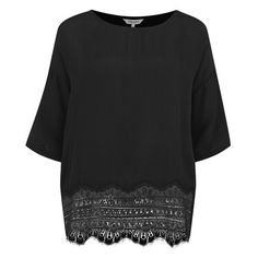 Great Plains Women's Moulin Rouge Lace Trim Top (51 AUD) ❤ liked on Polyvore featuring tops, black, shirts & tops, rayon tops, black kimono top, loose tops and black kimono