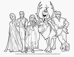 Disney Frozen Anna Coloring Page S | Anna, Elsa, Hans, Kristoff, Sven and Olaf took a picture together