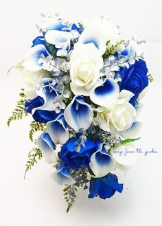 This cascade bouquet of blue and white Real Touch roses, Real Touch royal blue Picasso calla lilies, silver accents and rhinestones can be yours to have and to hold on your wedding day! I can create i Topic 18 Bouquet En Cascade, Bouquet Bleu, Cascading Bridal Bouquets, Bridal Bouquet Blue, Blue Wedding Flowers, Bride Bouquets, Silk Flowers, Wedding Colors, Wedding Blue