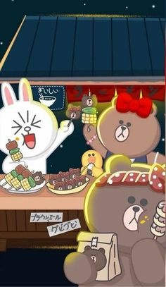 Happy Mid-Autumn Festival! Lines Wallpaper, Bear Wallpaper, Kawaii Wallpaper, Iphone Wallpaper, Cute Cartoon Wallpapers, Band Wallpapers, Line Cony, Happy Mid Autumn Festival, Cute Couple Cartoon
