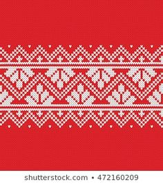 Christmas New Year Design Fair Isle Lagervektor (royaltyfri) 1191496978 Intarsia Patterns, Fair Isle Knitting Patterns, Knitting Stiches, Fair Isle Pattern, Knitting Charts, Cross Stitch Boarders, Red Tablecloth, Scandinavian Pattern, New Year Designs