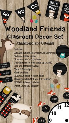 This beautiful woodland friend class decor set would be perfect for a classroom of little nature lovers and a great back to school welcome.
