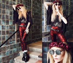 Lazy sunday..shhh (by Lina ♡) http://lookbook.nu/look/4772135-Leggings-Sunglasses-Rose-Crown-Top-Creepers