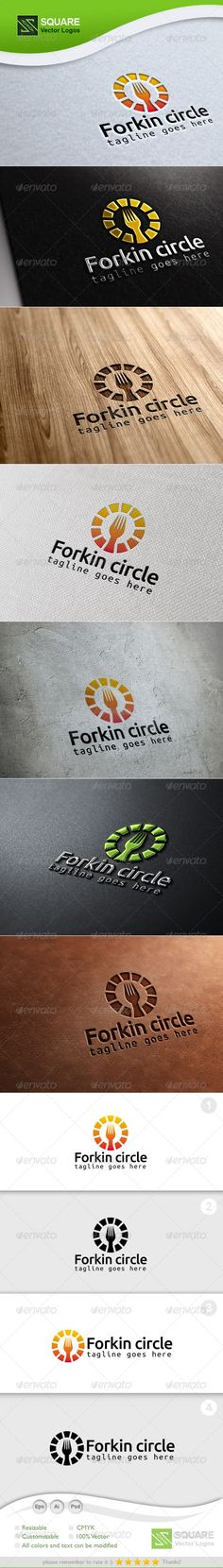 Circle, Fork Vector Logo Template — Photoshop PSD #noodles #lunch • Available here → https://graphicriver.net/item/circle-fork-vector-logo-template/7047415?ref=pxcr