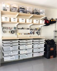 Your tool area doesnt have to be the most chaotic corner of your garage. We are in love with this custom designed work station with drawers shelves and pegboard that fit our clients needs perfectly. Garage Organization Tips, Garage Storage Solutions, Diy Garage Storage, Pegboard Garage, Receipt Organization, Storage Ideas, Garage Shed, Garage House, Clean Garage