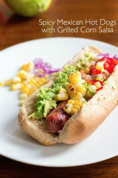 100% grassfed beef hot dogs are a healthy choice! (less fat, more Omega 3's) + topped w/ fresh, grilled corn salsa for a delish twist.