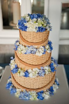 A Nantucket Basket that you can eat! decorated with our favorite island flower hydrangeas