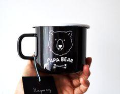 Papa Bear Enamel Mug Camping Mug Travel Mug Unique by nokkvalley