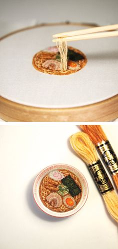 Japanese embroidery artist ipnot stitches incredibly realistic miniature food designs.