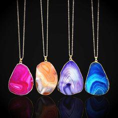 1pc Women Natural Crystal Quartz Healing Stone Gemstone Pendant Chain Necklace