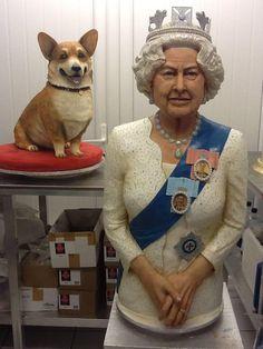 Queen sugar sculpture & corgi cake by MichelleSugarArt.co.uk