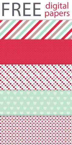FREE Digital Papers #lovelytocu  (red, mint, heart, hearts, polka dots, stripes, background) *DL*