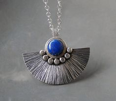 Sterling silver necklace with lapis lazuli - Sterling silver pendant with lapis lazuli - Silver jewellery - Handcrafted by Kailajewellery on Etsy https://www.etsy.com/listing/188074190/sterling-silver-necklace-with-lapis