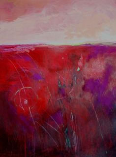 Red Field One, abstract landscape painting by Carol Engles, painting by artist Carol Engles