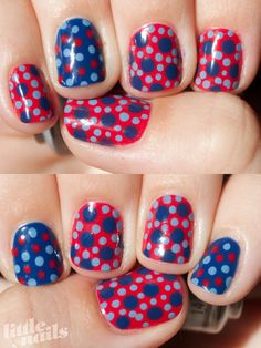 Little Nails: Spot Overload design. I'd do this in red, white and blue for the 4th of July.