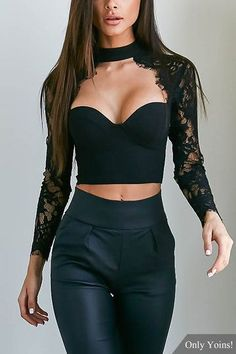 Black Sexy Lace Cropped Body-con Top from mobile - US$15.95 -YOINS