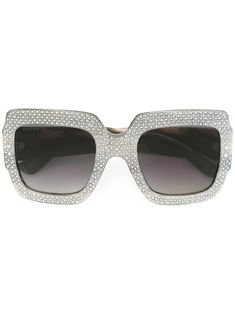 291ed33e8a3 Gucci Eyewear Oversize Crystal Square Sunglasses - Farfetch