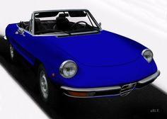 Alfa Romeo Spider in black & blue