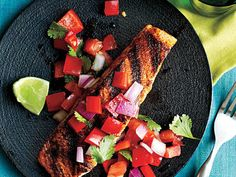 Learn how to make Pan-Grilled Salmon with Red Pepper Salsa. MyRecipes has tested recipes and videos to help you be a better cook. Healthy Grilling, Grilling Recipes, Seafood Recipes, Healthy Snacks, Healthy Eating, Cooking Recipes, Healthy Recipes, Fish Recipes, Healthy Dinners