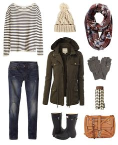 Stay warm and stylish on a rainy day with these must-have winter wardrobe pieces. Striped Sweater from H&M // Cable Knit Beanie from ASOS // Shopa Jacquard Scarf from Anthropologie // Flip Top Gloves from Isotoner // Umbrella from Orla Kiely // Clip Front Crossbody Bag from Topshop // Hunter Rain Boots from Zappos // Destructed Skinny Jeans from Gap // Studded Military Anorak Jacket from Amazon