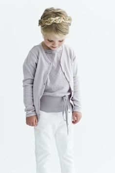 Throwback: Danish brand Norlie is behind this gorgeous collection from In love with the soft cotton and beautiful pastel colour matched with white. Her braided hair is simply beautiful too! Little Kid Fashion, Kids Fashion, Fashion Outfits, Little Girl Closet, Kids Braided Hairstyles, Braids For Kids, Sweater Set, Little Fashionista, Scandinavian Kids