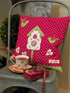 Millie red birdhouse cushion by Greengate ( now half price)