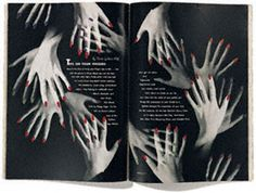 This is a inside page of spread from Harper's Bazaar, April 1941 by Alexey Brodovitch, an art director who is said to have changed the nature of magazine design. In this magazine design, the hands has been trends narrative around, by using same image to expound different conditions.