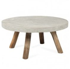 Indi Rustic Round Coffee Table - Timber and Concrete