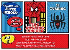 spiderman birthday party invitation comic superhero marvel, invitation samples
