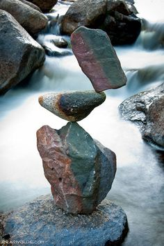 "Michael Grab creates ""rock balancing"" art, making a kind of tripod to balance the many shapes and sizes into sometimes perplexing structures. Do you think you'd have the patience and coordination to attempt something so precise?"